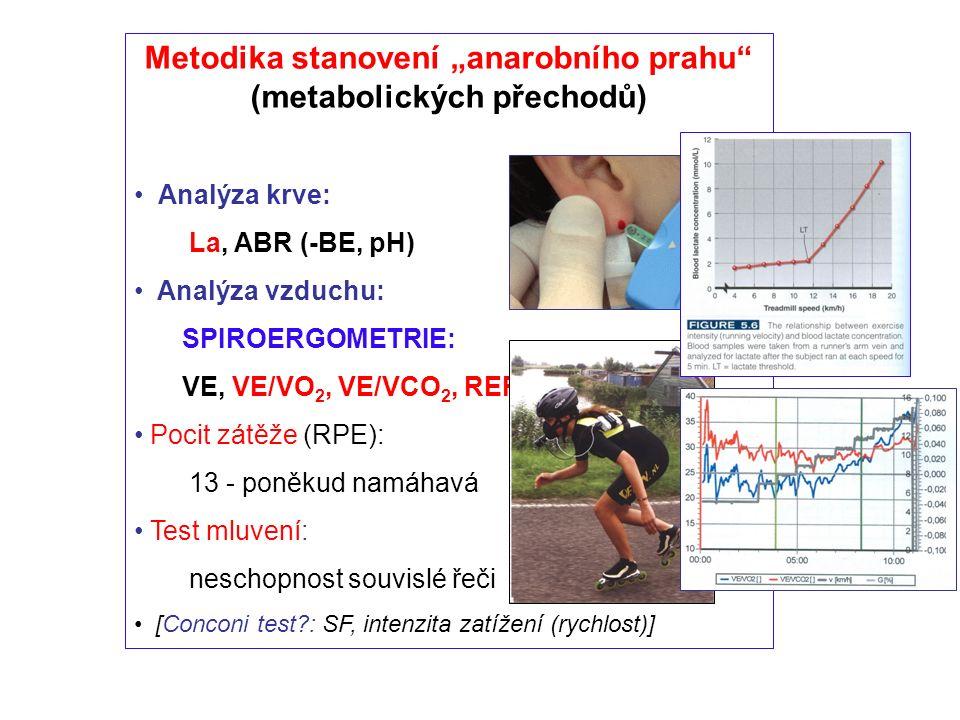 """Metodika stanovení """"anarobního prahu (metabolických přechodů) Analýza krve: La, ABR (-BE, pH) Analýza vzduchu: SPIROERGOMETRIE: VE, VE/VO 2, VE/VCO 2, RER,.."""