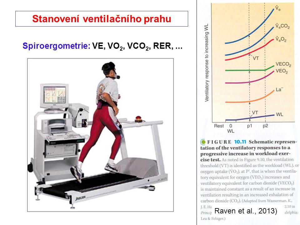 Stanovení ventilačního prahu Raven et al., 2013) Spiroergometrie: VE, VO 2, VCO 2, RER,...