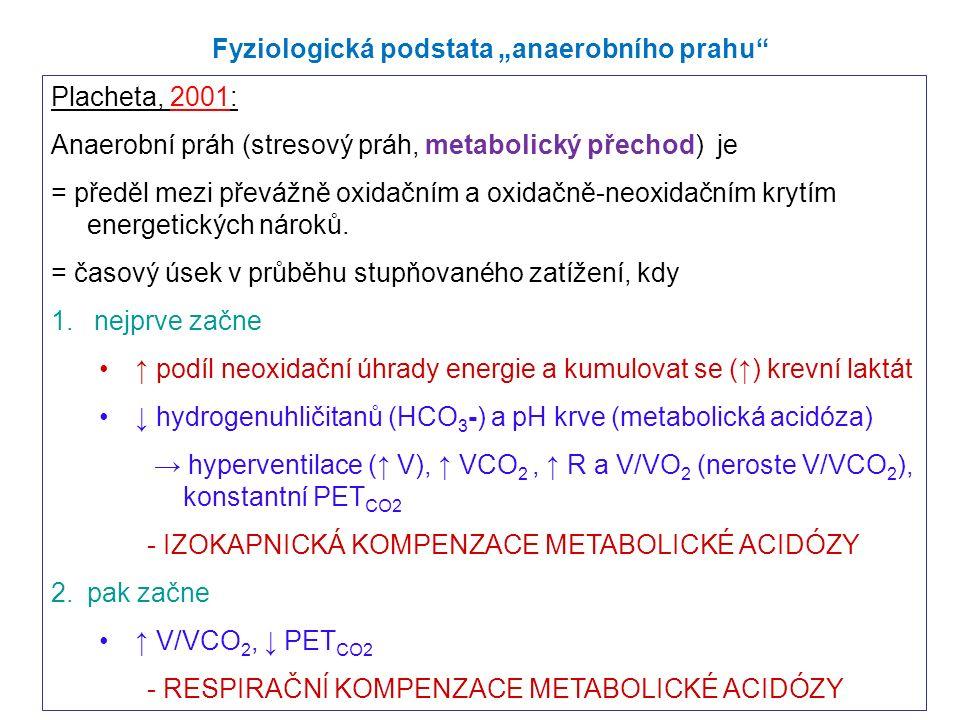 Placheta, 2001: Anaerobní práh (stresový práh, metabolický přechod) je = předěl mezi převážně oxidačním a oxidačně-neoxidačním krytím energetických nároků.