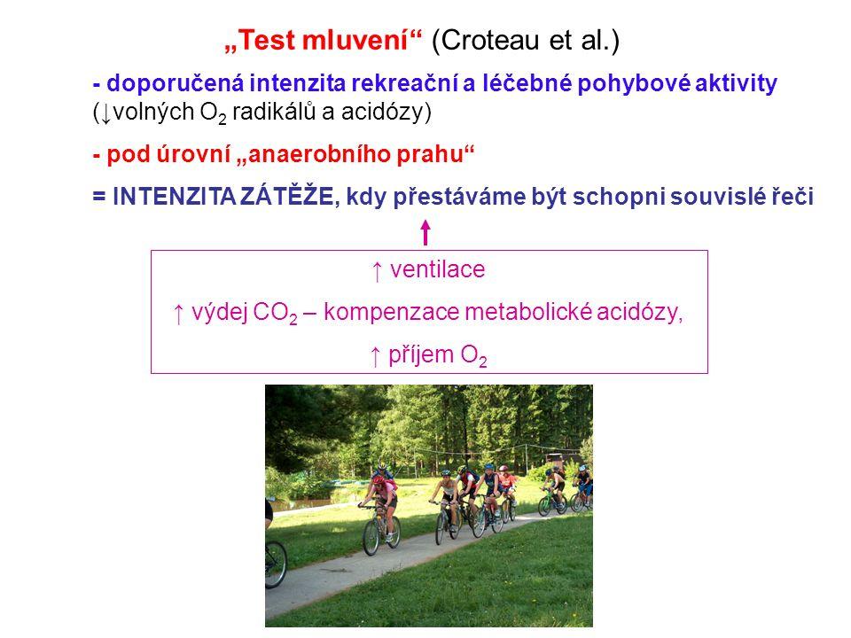 """""""Test mluvení (Croteau et al.) ↑ ventilace ↑ výdej CO 2 – kompenzace metabolické acidózy, ↑ příjem O 2 - doporučená intenzita rekreační a léčebné pohybové aktivity (↓volných O 2 radikálů a acidózy) - pod úrovní """"anaerobního prahu = INTENZITA ZÁTĚŽE, kdy přestáváme být schopni souvislé řeči"""