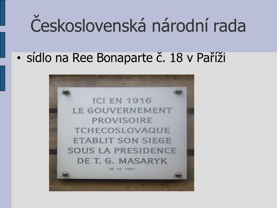 Československá národní rada sídlo na Ree Bonaparte č. 18 v Paříži