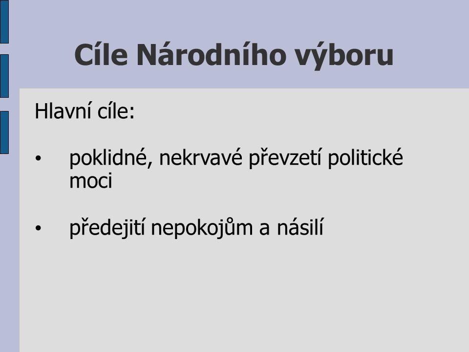 Cíle Národního výboru Hlavní cíle: poklidné, nekrvavé převzetí politické moci předejití nepokojům a násilí