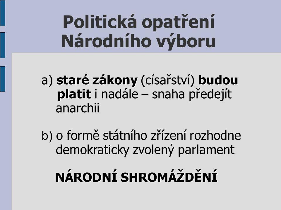 Politická opatření Národního výboru starézákonybudou a) staré zákony (císařství) budou platit platit i nadále – snaha předejít anarchii b) o formě státního zřízení rozhodne demokraticky zvolený parlament NÁRODNÍ SHROMÁŽDĚNÍ