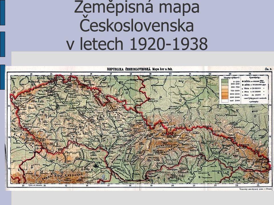 Zeměpisná mapa Československa v letech 1920-1938