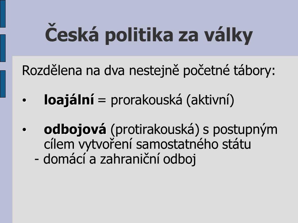 Česká politika za války Rozdělena na dva nestejně početné tábory: loajální loajální = prorakouská (aktivní) odbojová odbojová (protirakouská) s postupným cílem vytvoření samostatného státu - domácí a zahraniční odboj