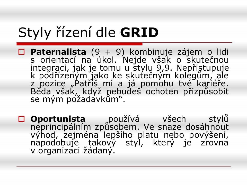 Styly řízení dle GRID  Paternalista (9 + 9) kombinuje zájem o lidi s orientací na úkol. Nejde však o skutečnou integraci, jak je tomu u stylu 9,9. Ne