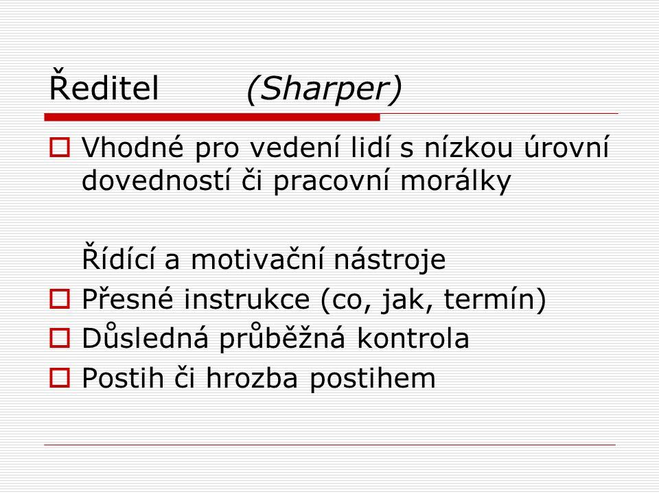 Ředitel(Sharper)  Vhodné pro vedení lidí s nízkou úrovní dovedností či pracovní morálky Řídící a motivační nástroje  Přesné instrukce (co, jak, term