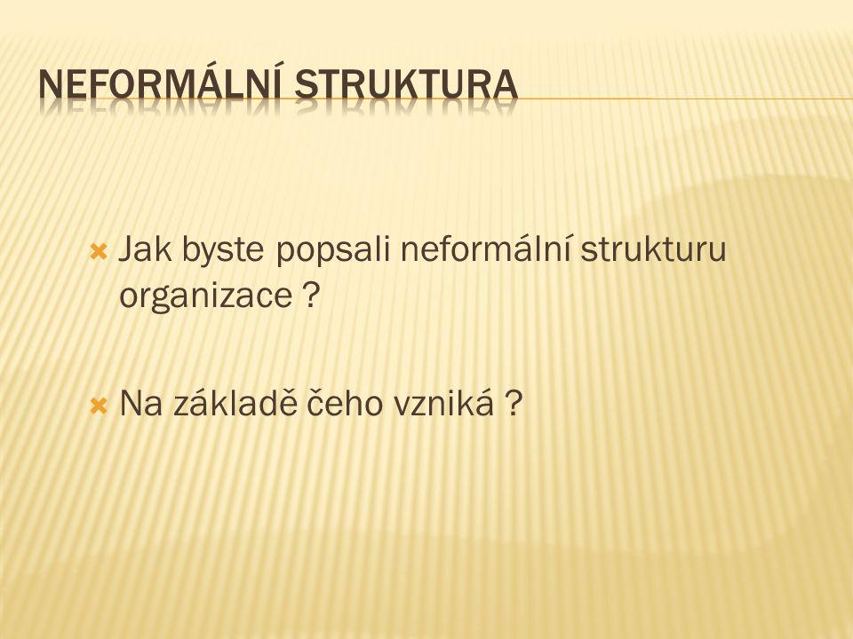  Jak byste popsali neformální strukturu organizace ?  Na základě čeho vzniká ?