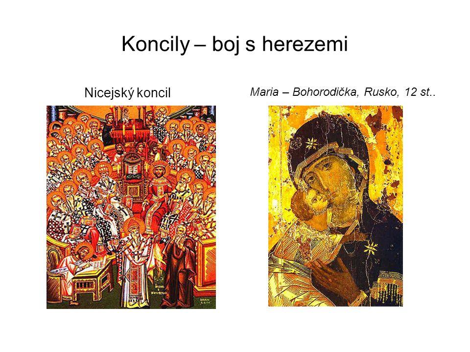 Koncily – boj s herezemi Nicejský koncil Maria – Bohorodička, Rusko, 12 st..