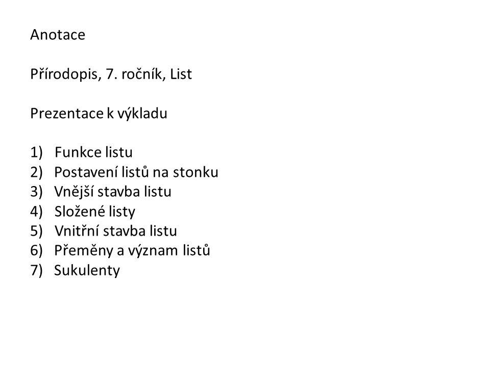 Anotace Přírodopis, 7.