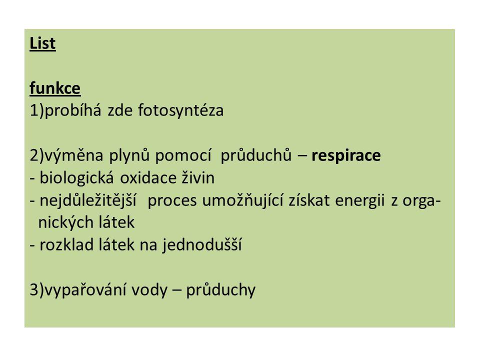 List funkce 1)probíhá zde fotosyntéza 2)výměna plynů pomocí průduchů – respirace - biologická oxidace živin - nejdůležitější proces umožňující získat energii z orga- nických látek - rozklad látek na jednodušší 3)vypařování vody – průduchy