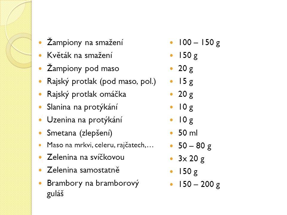 Žampiony na smažení Květák na smažení Žampiony pod maso Rajský protlak (pod maso, pol.) Rajský protlak omáčka Slanina na protýkání Uzenina na protýkání Smetana (zlepšení) Maso na mrkvi, celeru, rajčatech,… Zelenina na svíčkovou Zelenina samostatně Brambory na bramborový guláš 100 – 150 g 150 g 20 g 15 g 20 g 10 g 50 ml 50 – 80 g 3x 20 g 150 g 150 – 200 g