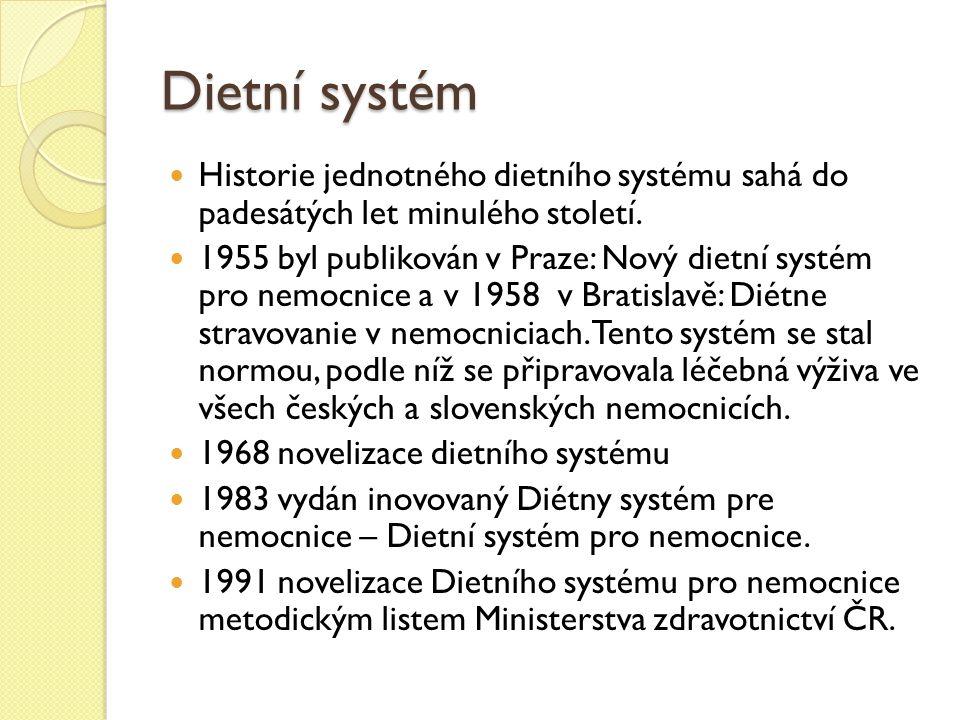Dietní systém Historie jednotného dietního systému sahá do padesátých let minulého století.