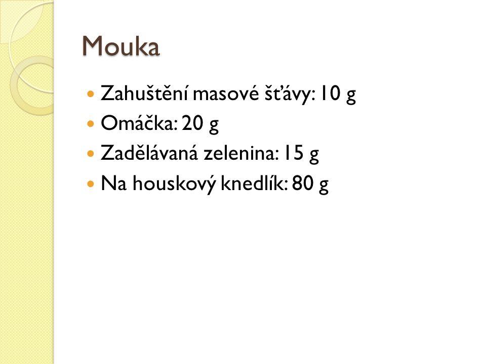 Mouka Zahuštění masové šťávy: 10 g Omáčka: 20 g Zadělávaná zelenina: 15 g Na houskový knedlík: 80 g