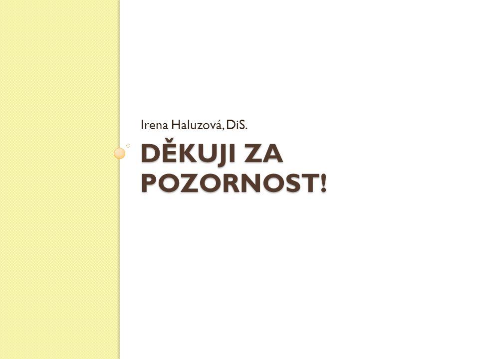 DĚKUJI ZA POZORNOST! Irena Haluzová, DiS.