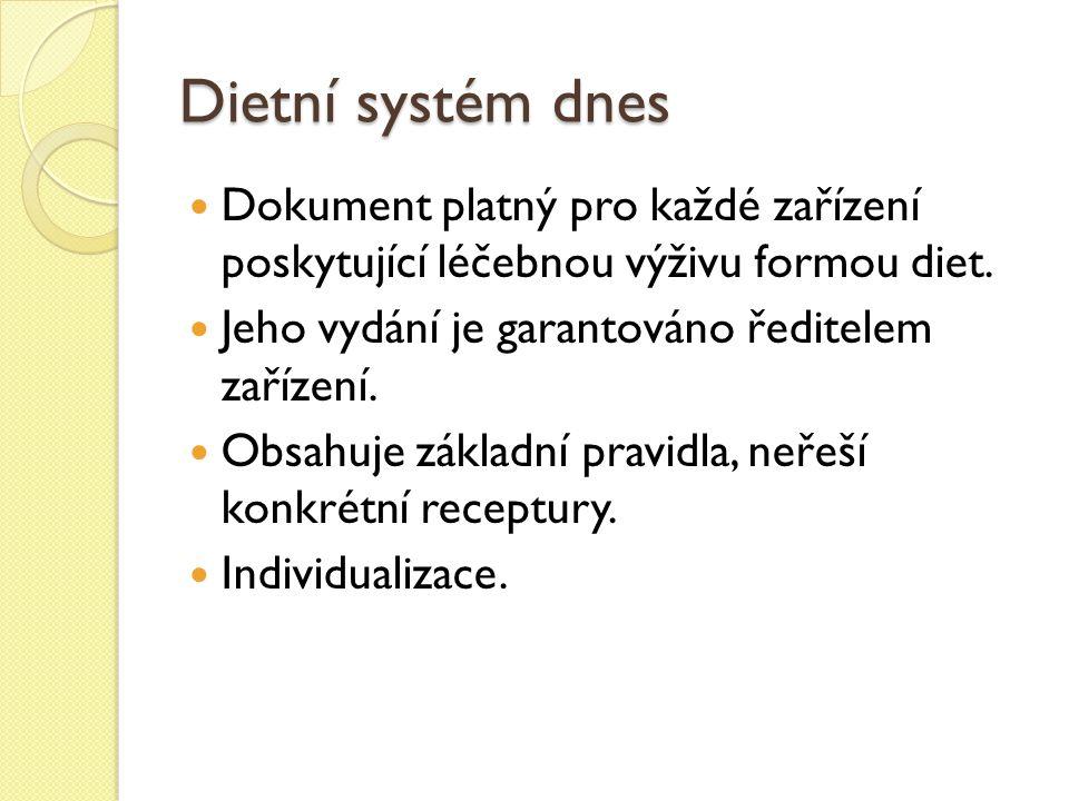 Dietní systém dnes Dokument platný pro každé zařízení poskytující léčebnou výživu formou diet.