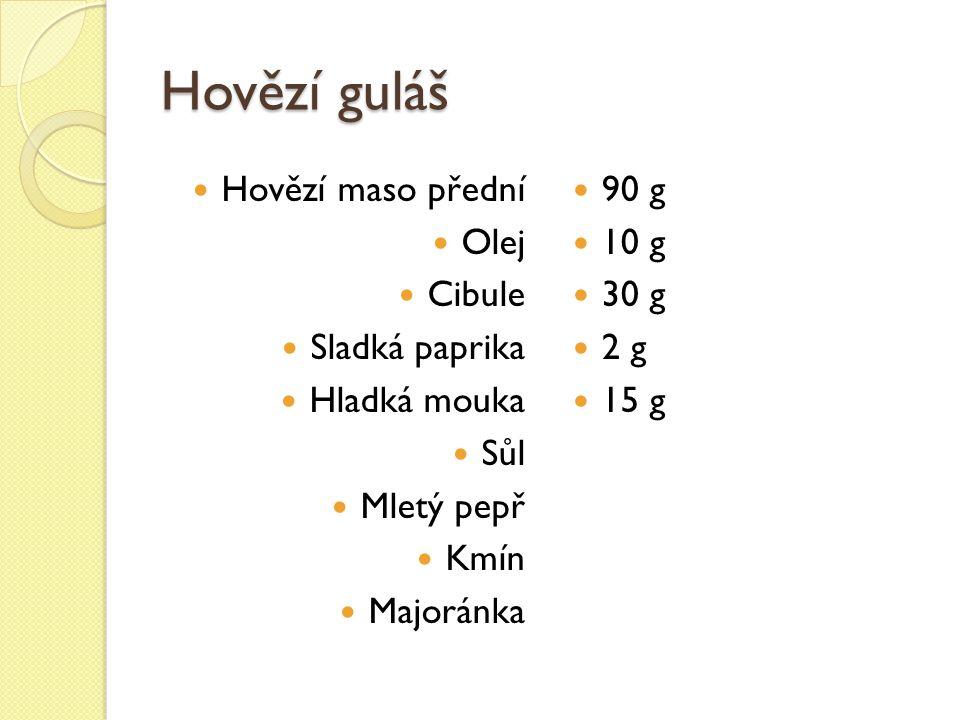 Hovězí guláš Hovězí maso přední Olej Cibule Sladká paprika Hladká mouka Sůl Mletý pepř Kmín Majoránka 90 g 10 g 30 g 2 g 15 g