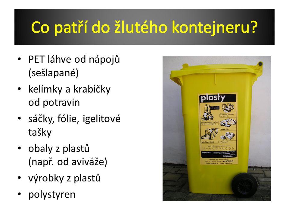 PET láhve od nápojů (sešlapané) kelímky a krabičky od potravin sáčky, fólie, igelitové tašky obaly z plastů (např.