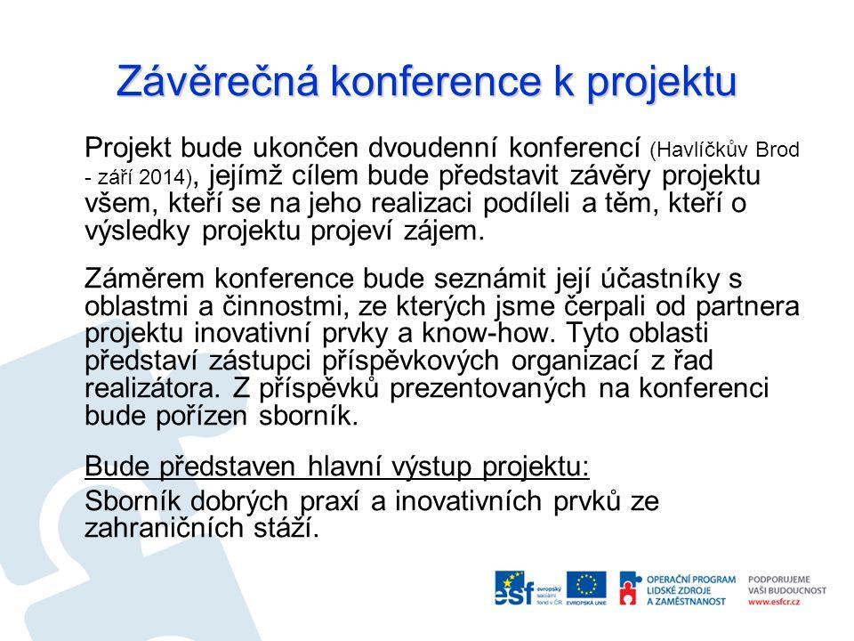 Závěrečná konference k projektu Projekt bude ukončen dvoudenní konferencí (Havlíčkův Brod - září 2014), jejímž cílem bude představit závěry projektu všem, kteří se na jeho realizaci podíleli a těm, kteří o výsledky projektu projeví zájem.