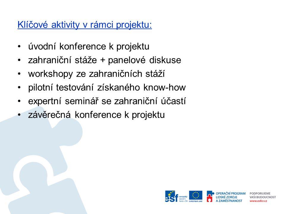 Klíčové aktivity v rámci projektu: úvodní konference k projektu zahraniční stáže + panelové diskuse workshopy ze zahraničních stáží pilotní testování získaného know-how expertní seminář se zahraniční účastí závěrečná konference k projektu