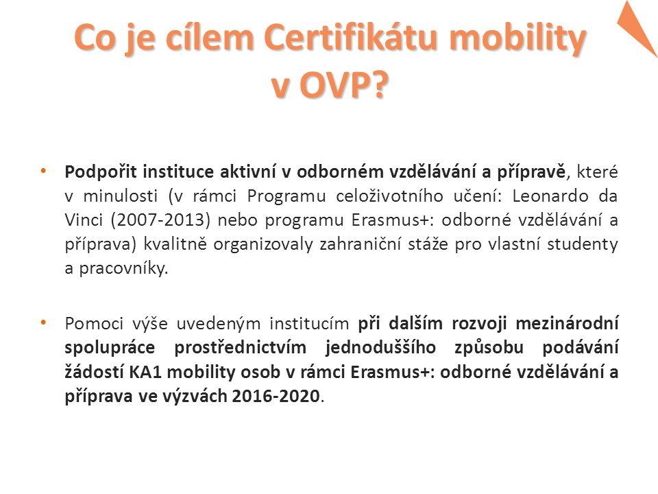 Co je cílem Certifikátu mobility v OVP.