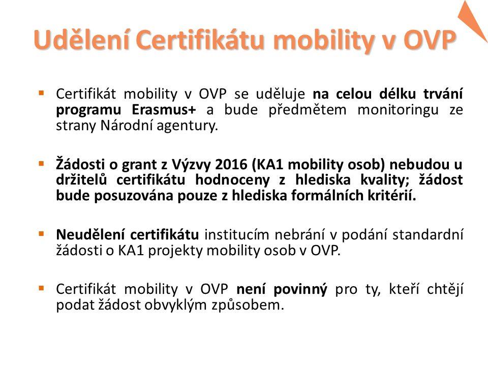 Udělení Certifikátu mobility v OVP  Certifikát mobility v OVP se uděluje na celou délku trvání programu Erasmus+ a bude předmětem monitoringu ze strany Národní agentury.