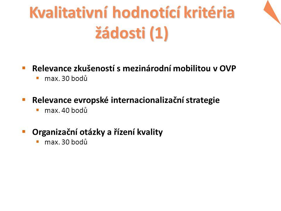 Kvalitativní hodnotící kritéria žádosti (1)  Relevance zkušeností s mezinárodní mobilitou v OVP  max.