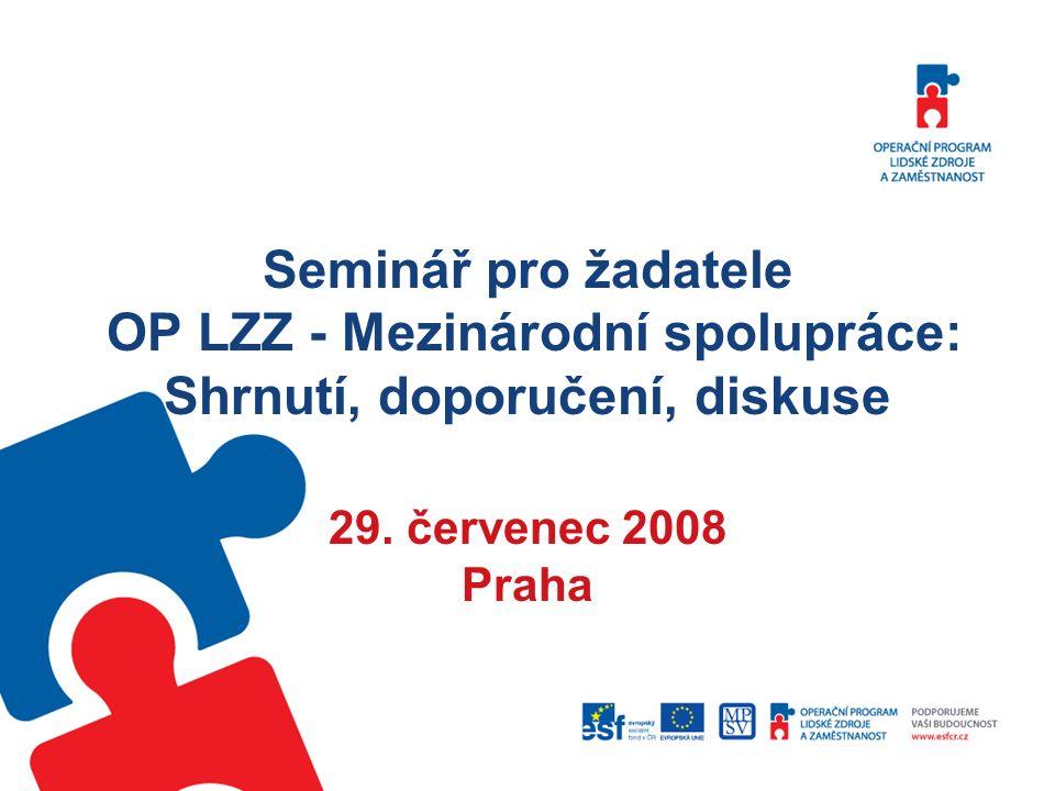 Seminář pro žadatele OP LZZ - Mezinárodní spolupráce: Shrnutí, doporučení, diskuse 29.