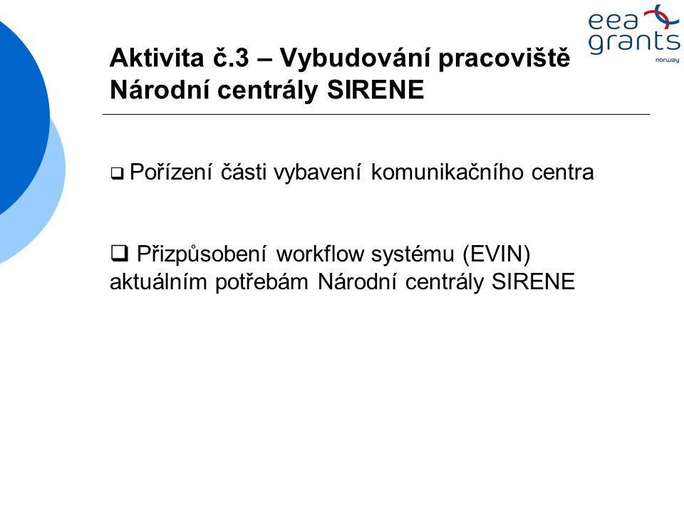 Aktivita č.3 – Vybudování pracoviště Národní centrály SIRENE  Pořízení části vybavení komunikačního centra  Přizpůsobení workflow systému (EVIN) aktuálním potřebám Národní centrály SIRENE