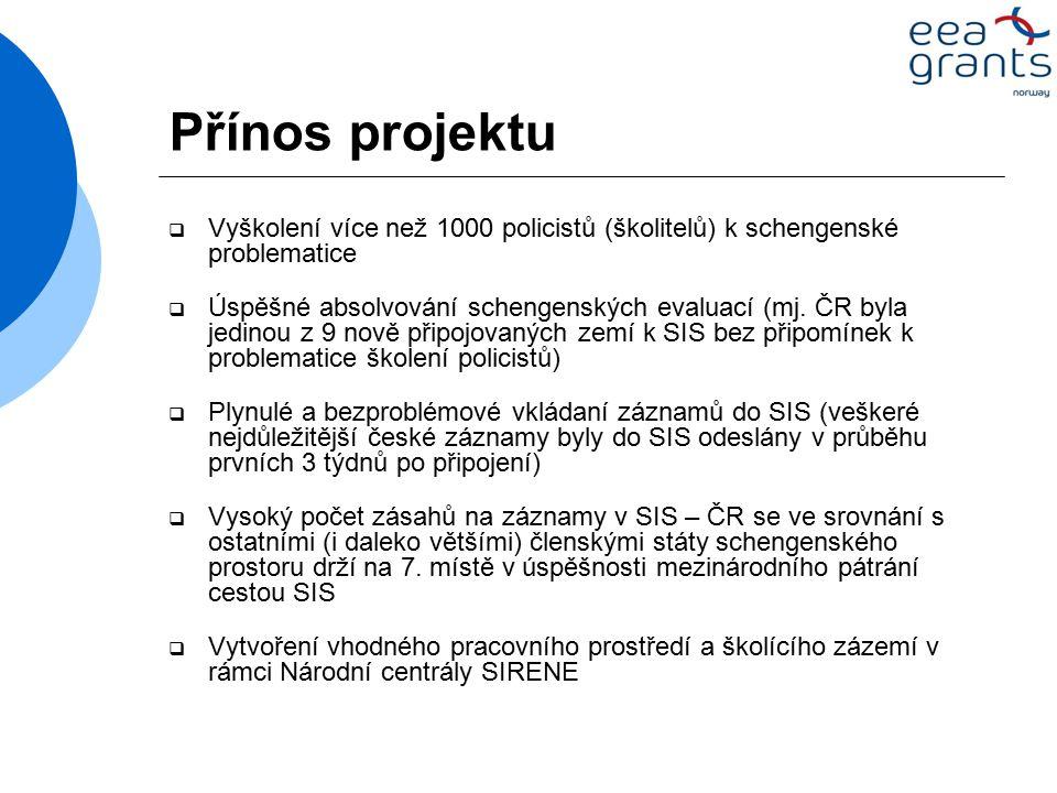 Přínos projektu  Vyškolení více než 1000 policistů (školitelů) k schengenské problematice  Úspěšné absolvování schengenských evaluací (mj.