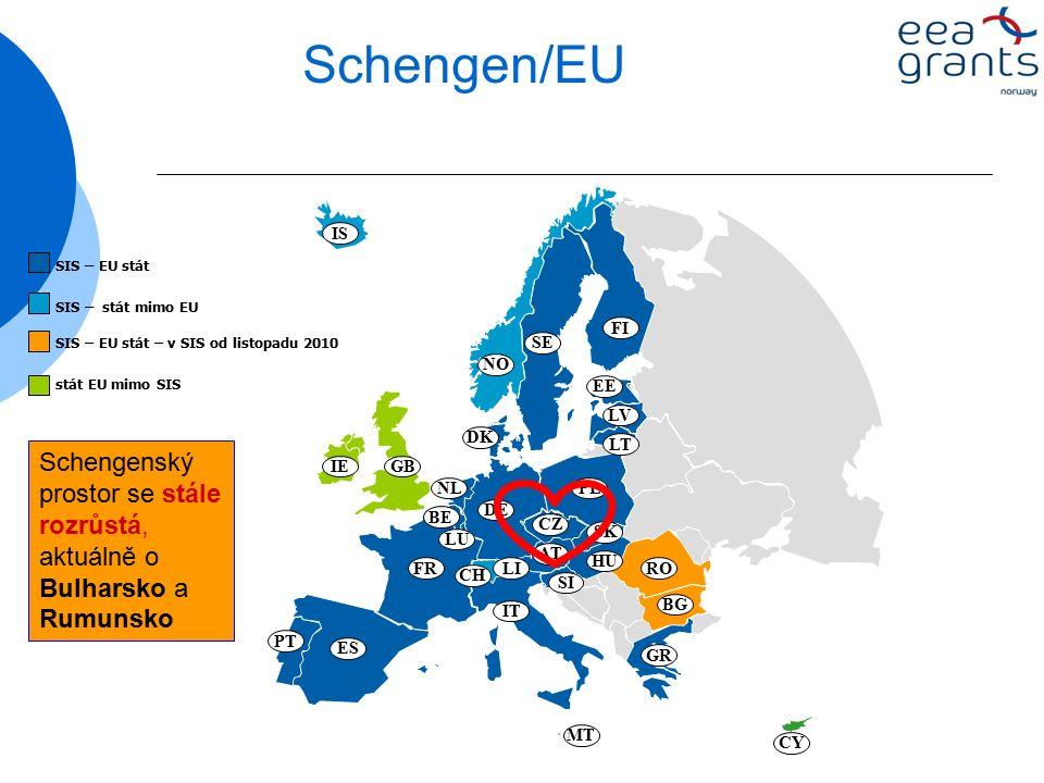 Schengen/EU BE DE FR LU NL AT GR IT DK NO SE FI EE LV LT PL CZ SK HU SI MT CH ES PT IS IEGB CY RO BG LI SIS – EU stát SIS – stát mimo EU SIS – EU stát – v SIS od listopadu 2010 stát EU mimo SIS Schengenský prostor se stále rozrůstá, aktuálně o Bulharsko a Rumunsko