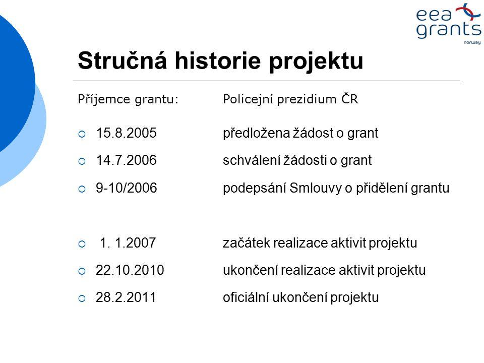 Stručná historie projektu  15.8.2005předložena žádost o grant  14.7.2006 schválení žádosti o grant  9-10/2006 podepsání Smlouvy o přidělení grantu  1.