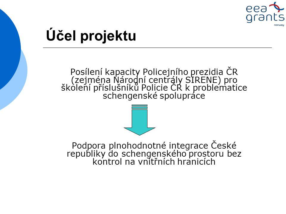 Účel projektu Posílení kapacity Policejního prezidia ČR (zejména Národní centrály SIRENE) pro školení příslušníků Policie ČR k problematice schengenské spolupráce Podpora plnohodnotné integrace České republiky do schengenského prostoru bez kontrol na vnitřních hranicích