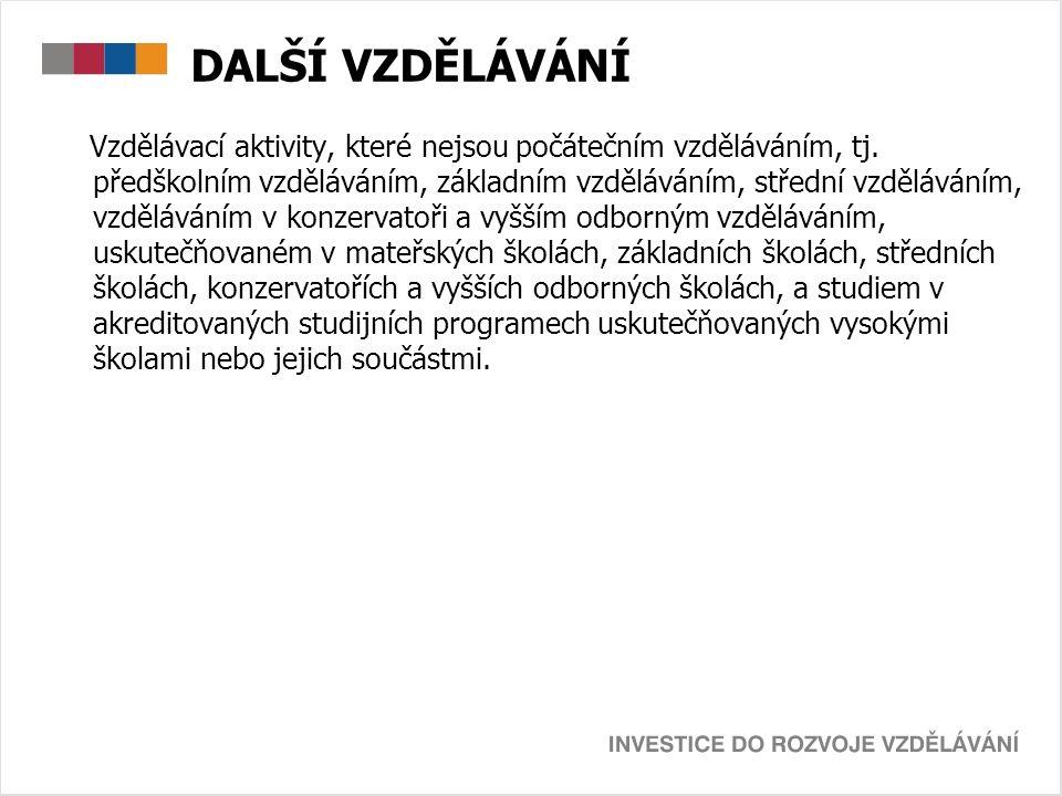 DALŠÍ VZDĚLÁVÁNÍ Vzdělávací aktivity, které nejsou počátečním vzděláváním, tj.