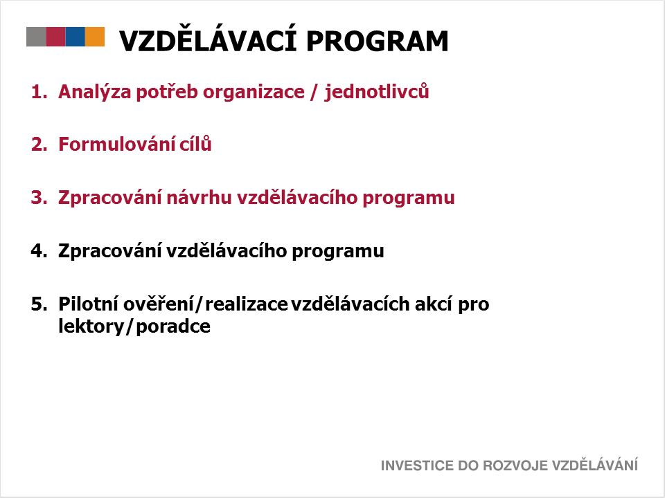 VZDĚLÁVACÍ PROGRAM 1.Analýza potřeb organizace / jednotlivců 2.Formulování cílů 3.Zpracování návrhu vzdělávacího programu 4.Zpracování vzdělávacího programu 5.Pilotní ověření/realizace vzdělávacích akcí pro lektory/poradce