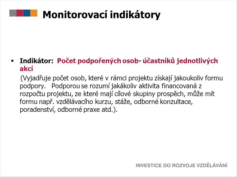 Monitorovací indikátory  Indikátor: Počet podpořených osob- účastníků jednotlivých akcí (Vyjadřuje počet osob, které v rámci projektu získají jakoukoliv formu podpory.
