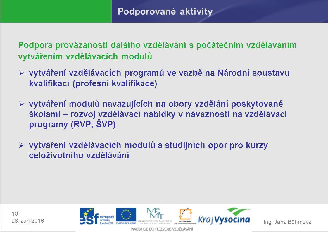 Ing. Jana Böhmová 10 28. září 2016 Podporované aktivity Podpora provázanosti dalšího vzdělávání s počátečním vzděláváním vytvářením vzdělávacích modul