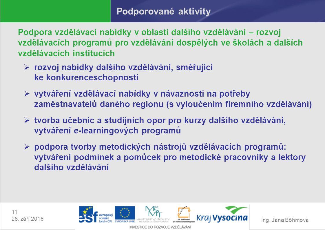 Ing. Jana Böhmová 11 28. září 2016 Podporované aktivity Podpora vzdělávací nabídky v oblasti dalšího vzdělávání – rozvoj vzdělávacích programů pro vzd