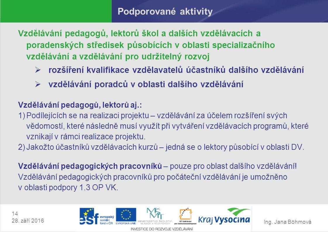 Ing. Jana Böhmová 14 28. září 2016 Podporované aktivity Vzdělávání pedagogů, lektorů škol a dalších vzdělávacích a poradenských středisek působících v