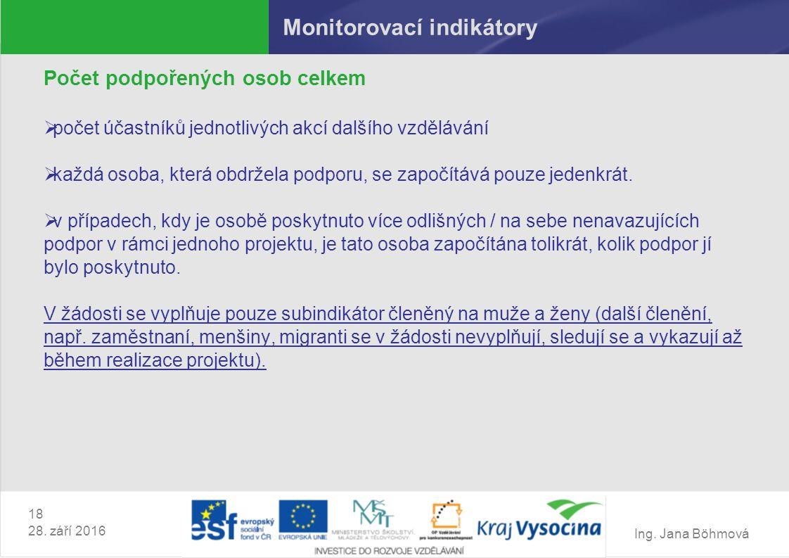 Ing. Jana Böhmová 18 28. září 2016 Monitorovací indikátory Počet podpořených osob celkem  počet účastníků jednotlivých akcí dalšího vzdělávání  každ