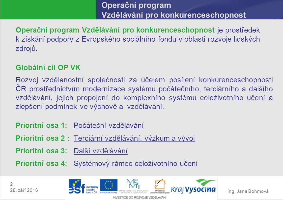 Ing. Jana Böhmová 2 28. září 2016 Operační program Vzdělávání pro konkurenceschopnost Operační program Vzdělávání pro konkurenceschopnost je prostřede