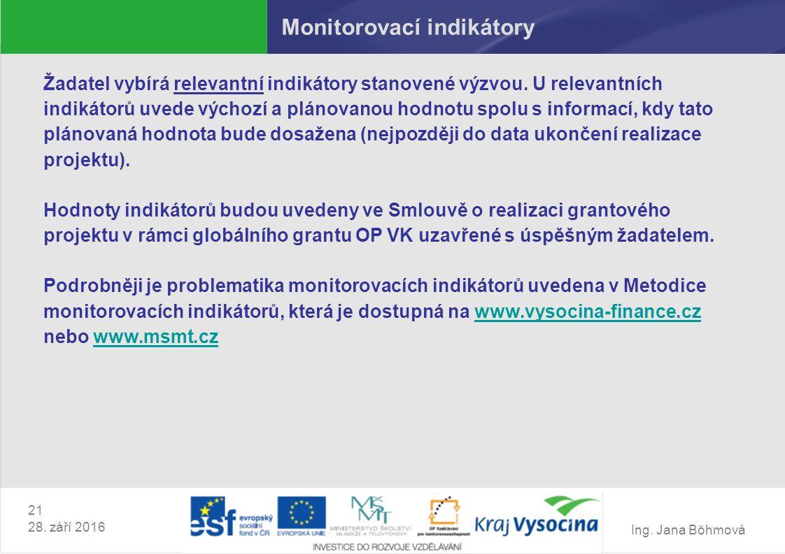 Ing. Jana Böhmová 21 28. září 2016 Monitorovací indikátory Žadatel vybírá relevantní indikátory stanovené výzvou. U relevantních indikátorů uvede vých