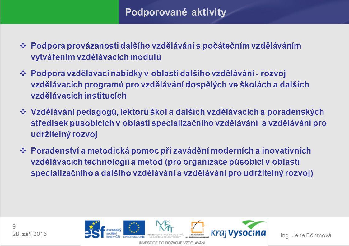 Ing. Jana Böhmová 9 28. září 2016 Podporované aktivity  Podpora provázanosti dalšího vzdělávání s počátečním vzděláváním vytvářením vzdělávacích modu