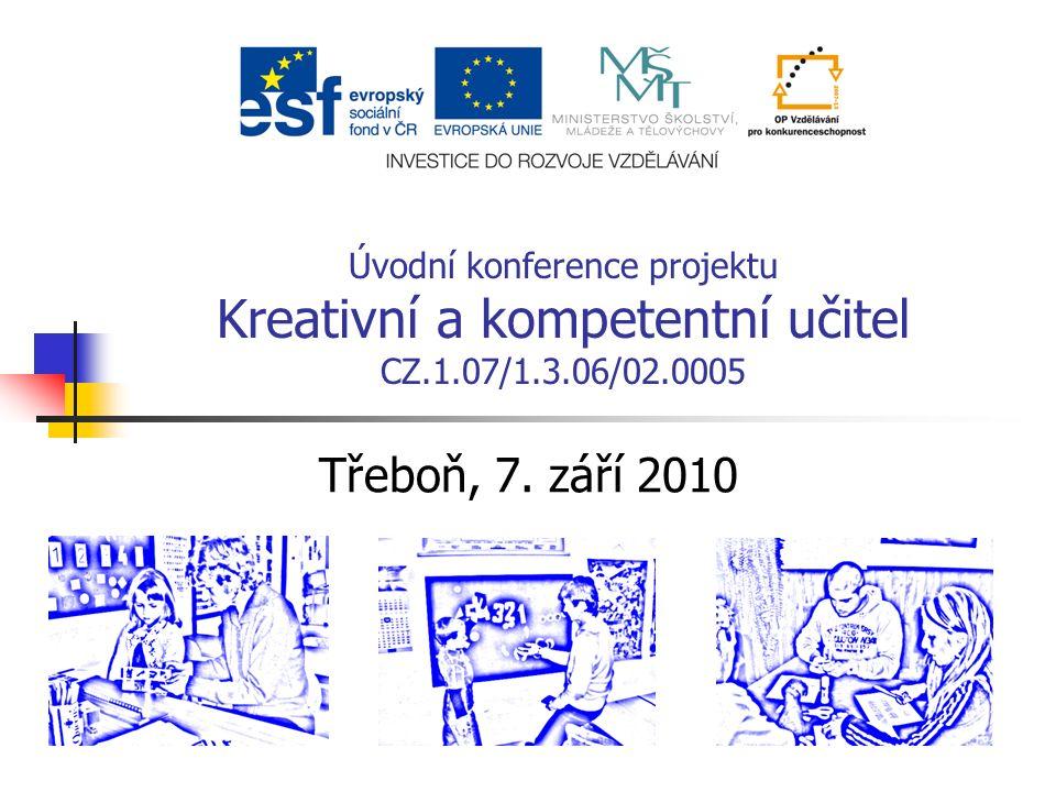 Úvodní konference projektu Kreativní a kompetentní učitel CZ.1.07/1.3.06/02.0005 Třeboň, 7.