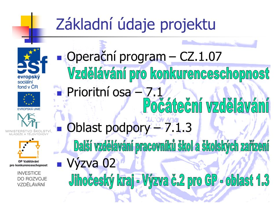 Základní údaje projektu Operační program – CZ.1.07 Prioritní osa – 7.1 Oblast podpory – 7.1.3 Výzva 02