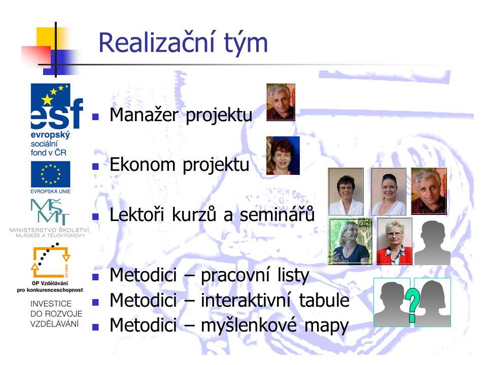 Realizační tým Manažer projektu Ekonom projektu Lektoři kurzů a seminářů Metodici – pracovní listy Metodici – interaktivní tabule Metodici – myšlenkové mapy