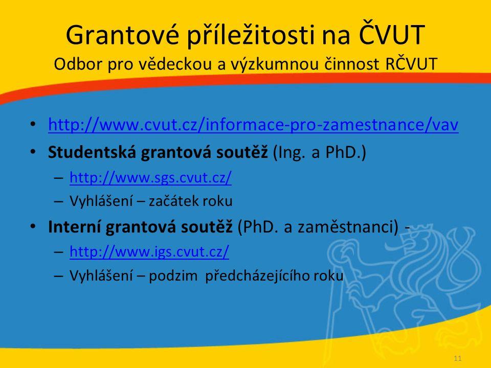 Grantové příležitosti na ČVUT Odbor pro vědeckou a výzkumnou činnost RČVUT http://www.cvut.cz/informace-pro-zamestnance/vav Studentská grantová soutěž (Ing.