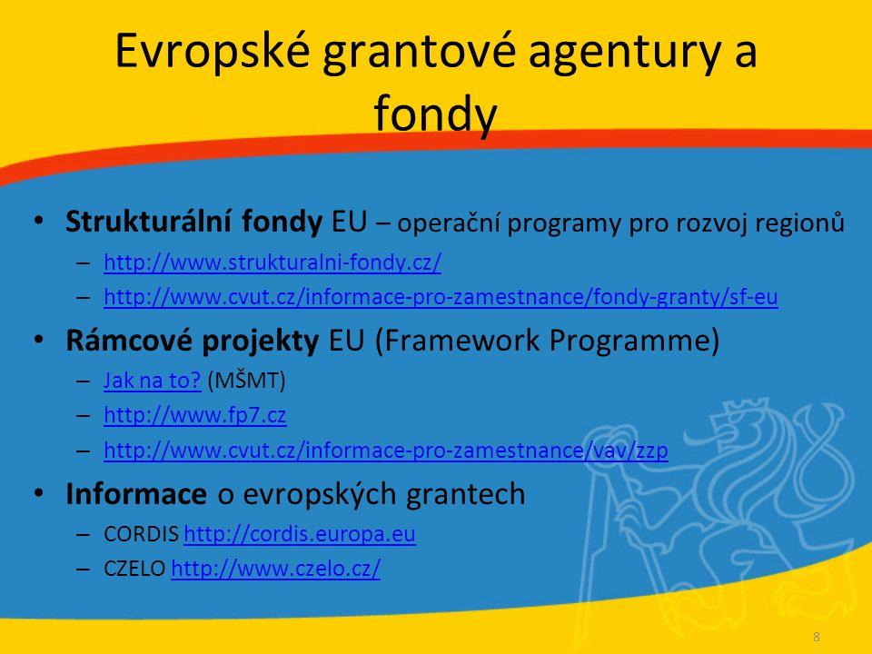 Evropské grantové agentury a fondy Strukturální fondy EU – operační programy pro rozvoj regionů – http://www.strukturalni-fondy.cz/ http://www.struktu