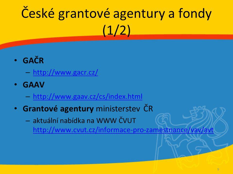 České grantové agentury a fondy (1/2) GAČR – http://www.gacr.cz/ http://www.gacr.cz/ GAAV – http://www.gaav.cz/cs/index.html http://www.gaav.cz/cs/ind