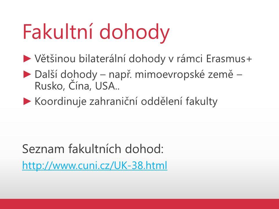 Fakultní dohody ► Většinou bilaterální dohody v rámci Erasmus+ ► Další dohody – např.